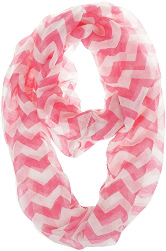 Vivian & Vincent Soft Light Weight Zig Zag Chevron Sheer Infinity Scarf (Big Chevron Pink)
