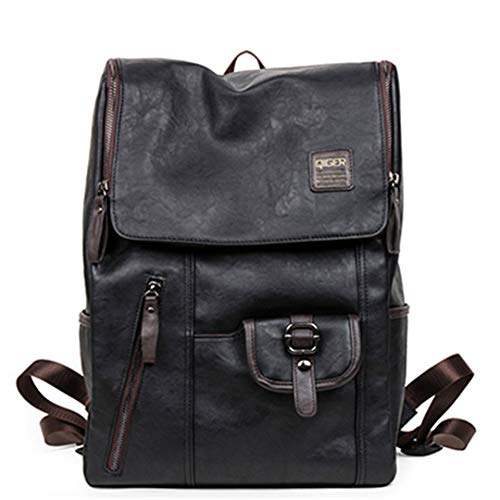 - Oil Wax Paper Leather Backpacks Western Style Bag For Men Travel Zip Casual Daypacks
