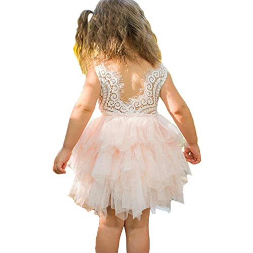 Aline Beaded Backless Lace Flower Girl Dress Princess Tulle Tutu Party Baby Dress 4-5T Pink