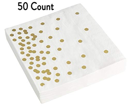 Paper Napkins – Decorative White & Gold Napkins – Pack of 50 Disposable Party Napkins – Eco-Friendly & Recyclable – Soft…
