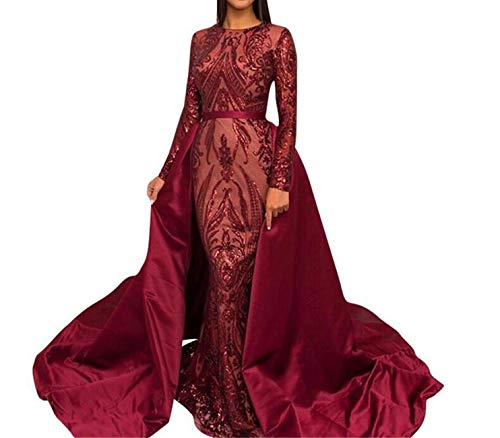 Aries Tuttle Burgundy Sequined Satin Mermaid Prom Evening Party Dress Celebrity Pageant Gown Detachable Train (US 18W Plus, - Detachable Train