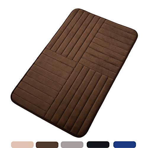 Bath Mat Soft Bathroom Rugs, Non-Slip Rubber Bath Rugs, Absorbent Bathroom Mat Rugs, Comfortable Coral Velvet Bathroom Mat (20″ x 32″ Alternate Stripe, Brown)