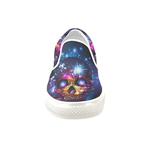 D-story Custom Sneaker Skull Con Sfondo Mistico Donne Insolite Scarpe Di Tela Slip-on (modello 019)