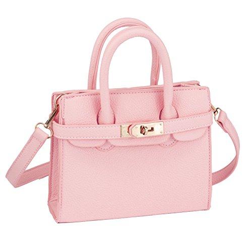 CMK Trendy Kids Python Grain Crossbody Handbags Purses for Girls With Rhinestone Sheep 1 (Classic pink) , Small
