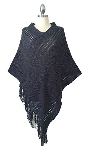 Ribbed Turtleneck Poncho - Califul Women's Turtleneck Pullover Knitted Sweater Batwing Tassels Poncho Cape Winter Knit (One Size, PO03 Chambray)