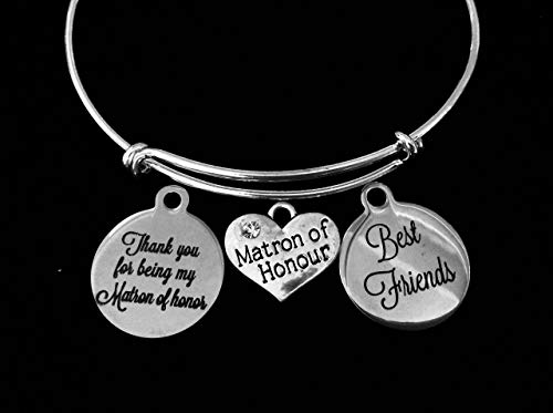 Matron of Honor Jewelry Best Friends Adjustable Bracelet Expandable Silver Wire Bangle Wedding Shower Bridal Trendy Proposal One Size Fits All Gift Personalization