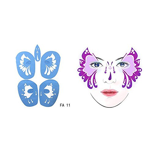 Theme Paint Face (Towashine 1Pc Face Paint Stencils (38 Designs) - Reusable, Soft, Great for Parties, Birthdays, Halloween, Carnivals, School Church Events)