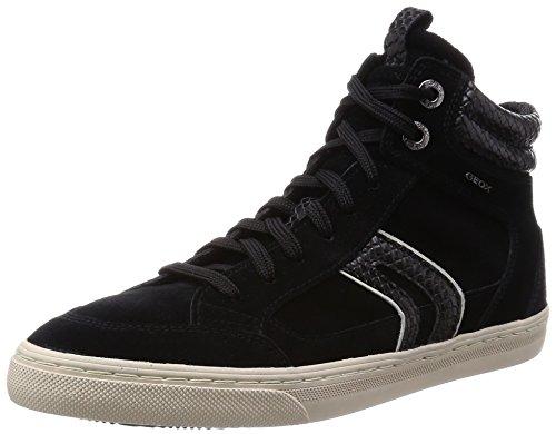 Geox D New Club a, Women's Hi-Top Sneakers Black - Schwarz (C0017black/Grey)