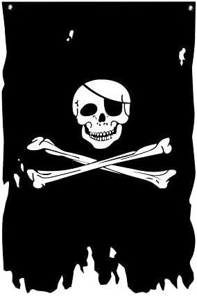 Double-sided Cotton Bunting Handmade Halloween Pirate Skull Crossbones Black