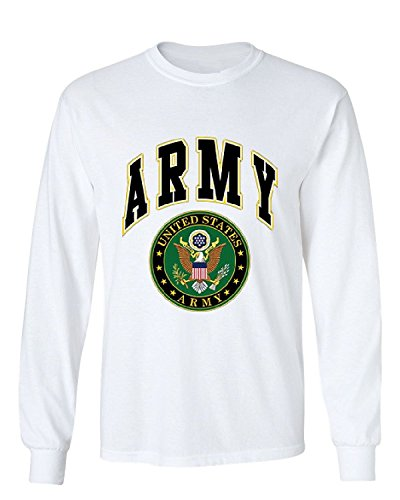 (United States Army Long Sleeve T-Shirt Army Crest Patriotic Clothing, White, L)
