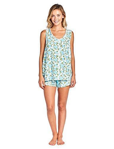 Casual Nights Women's Floral Sleeveless Tank and Pajama Shorts Set - Blue - 1X