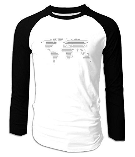 World Map Funny Raglan Long Sleeves Tee For Mens S - Louisiana Map Mall