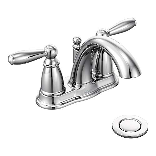 Moen 6610 Brantford Two-Handle Low-Arc Centerset Bathroom Faucet with Drain Assembly, - Chrome Handle Two Kingsley