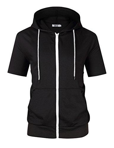 MrWonder Men's Casual Fit Long Sleeve Lightweight Zip up Pullover Hoodie Sweatshirt with Kanga Pocket (L, Short Black)