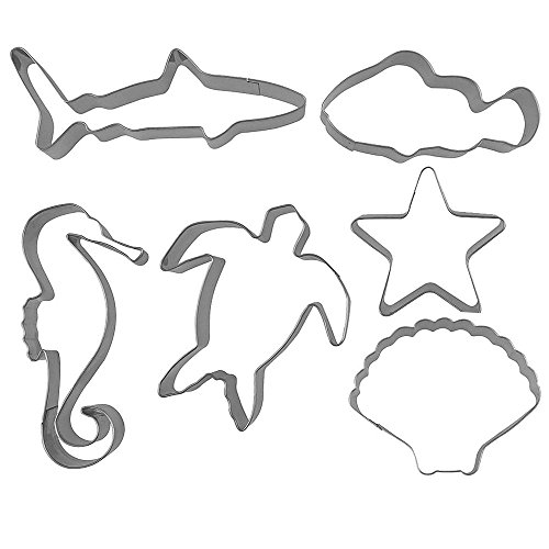 XYBAGS Under The Sea Cookie Cutters, Ocean Themed Shapes, Stainless Steel Starfish, Seashell, Seahorse, Shark, Turtle, Fish Cookie Cutter, 6 Piece (Starfish Cutter Cookie)