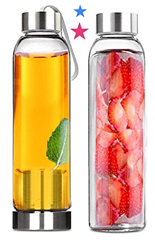 Tea Infuser and Glass Water Bottles x 2 - Gifts for Couples - 18 Ounce Hot and Cold Pitchers - for All On the Go Drinks - Insulating Sleeve for Use as a Travel Teapot Travel Mug Plus Sports Bottle