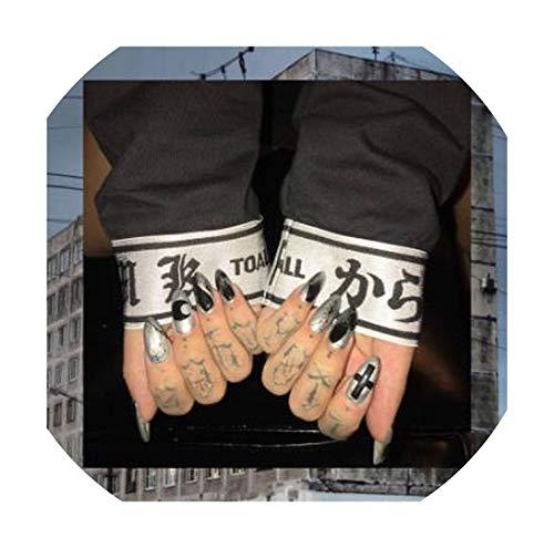 24pcs/Set Euro Ink Design False Nails Pre-Finished Long Stiletto Artificial Nail Art Decoration,08 ()