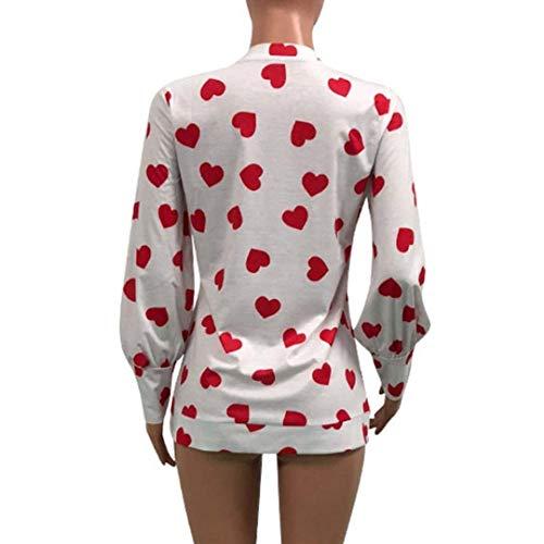 Vintage Camicetta Maniche Felpe Tops Collo Casual Rotondo Autunno Shirts Donna Red Chic Elegante Lunghe Ragazza Bluse Primaverile A Modello Camicia di 1 Moda Cuore 7O6nzSRW