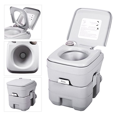 JAXPETY 5 Gallon 20L Flush Porta Potti Outdoor Indoor Travel Camping Portable Toilet for Car, Boat, Caravan, Campsite, Hospital Gray