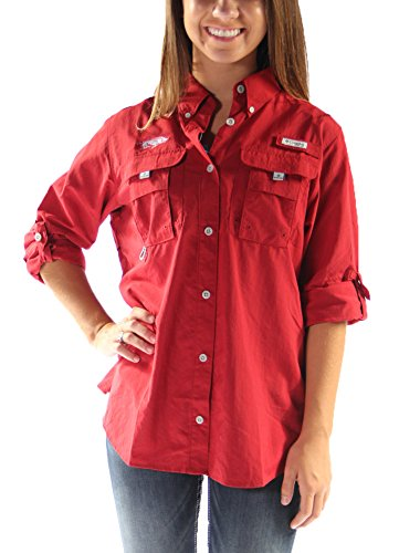 Columbia Women's Arkansas Collegiate BahamaTM Long Sleeve Shirt (Small, Red Velvet)