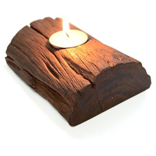 CinMin Handmade Rustic Distressed Wood Votive Tealight Holder, 6 inch
