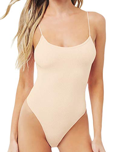 MANGOPOP Women's Backless Ribbed Camisole Bodysuit (Nude, Small) ()