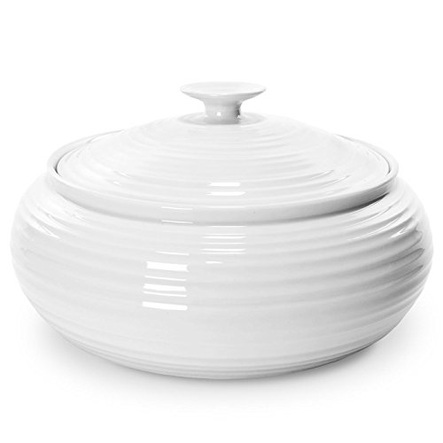 Portmeirion Sophie Conran White Low Covered Casserole - Pottery Covered Casserole