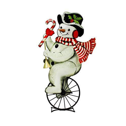 Bethany Lowe Snowman Unicycle Figurine Retro Vintage Style