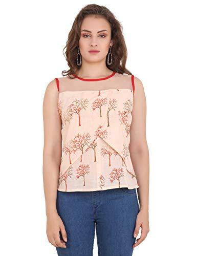 UNFAKENOWCasual Sleeveless Printed Women Beige Top