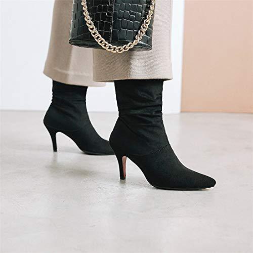 stivali puntato black Sandalette tubo matrimonio alti mezzo tacchi gli DEDE semplice stivali moda stivali XXqBaw