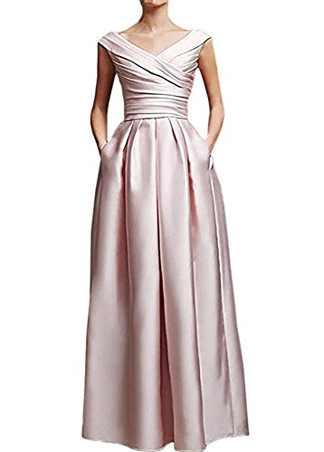 noche la de de volantes largo V de vestido con Rosado formal con vestido cuello madre en de FOLOBE del satén novia STUP0qS