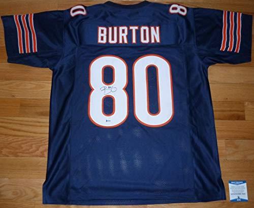 Beckett BAS Trey Burton Autographed Signed Chicago Bears Blue #80 Jersey