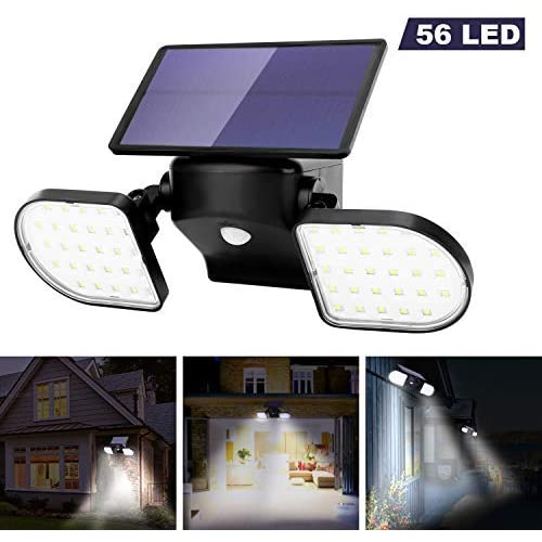 chollos oferta descuentos barato OUSFOT Luz Solar Exterior 56 LED Foco Solar con Sensor de Movimiento Lámpara Solar de Seguridad Impermeable IP65 360 Ajustable para Entrada Garaje Patio y Jardín