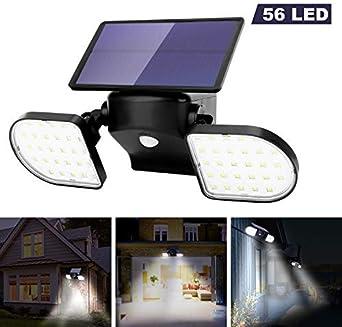 OUSFOT Luz Solar Exterior 56 LED Foco Solar con Sensor de Movimiento Lámpara Solar de Seguridad Impermeable IP65 360 ° Ajustable para Entrada Garaje Patio y Jardín: Amazon.es: Iluminación