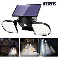OUSFOT Luz Solar Exterior 56 LED Foco Solar con Sensor de Movimiento Lámpara Solar de Seguridad Impermeable IP65 360…