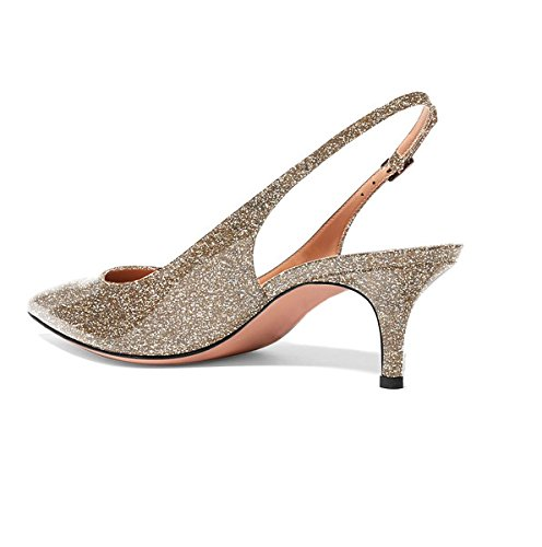 Shoes Sammitop Kitten Shoes Toe Women's Comfortable Glittergold Heel Pointed Dress Slingback Pumps vBrvRxWAqw