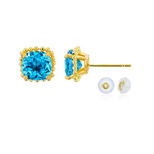 14K Yellow Gold 6x6mm Cushion Cut Swiss blue topaz Bead Frame Stud Earring with Silicone Back