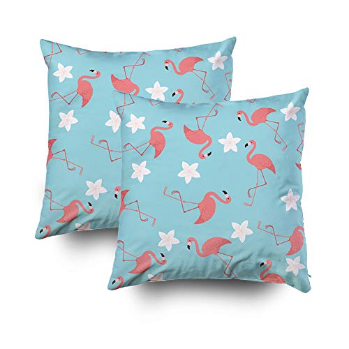 ROOLAYS Decorative Throw Square Pillow Case Cover 18X18Inch,Cotton Cushion Covers Flamingos exotic pattern wallpaper Both Sides Printing Invisible Zipper Home Sofa Decor Sets 2 PCS Pillowcase