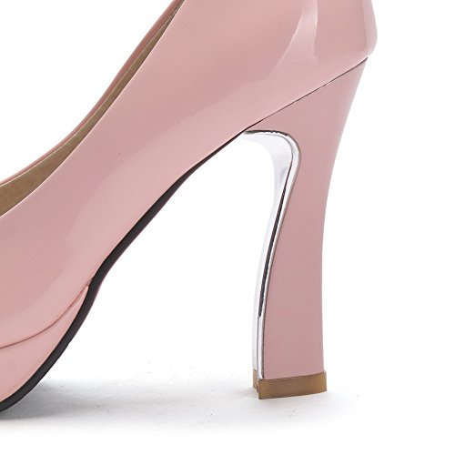 Amoonyfashion Femme Pull-on Pu Rond Fermé Orteils Talons-aiguilles Solides Chaussures-chaussures Rose