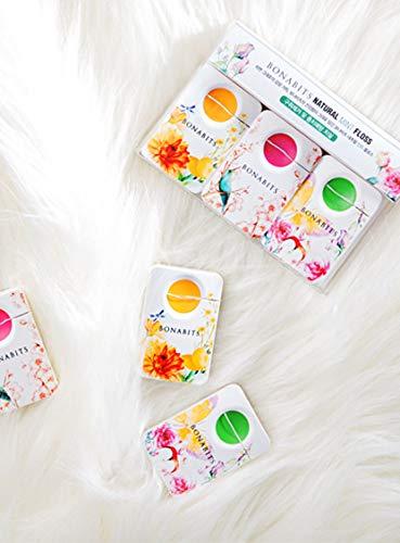 Bonabits K-Beauty | Floral Design | Natural Luxury Mint Flavor Floss | 3 Pack