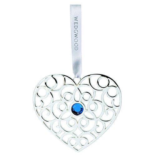 Wedgwood Silver Filigree Heart, Blue Crystal