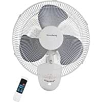 Homebasix FW40-S1 Horizontal Oscillating Wall Mount Fan, White