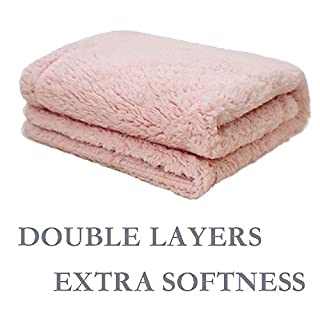 """furrybaby Premium Fluffy Fleece Dog Blanket, Soft and Warm Pet Throw for Dogs & Cats (Small (2432""""), Pink Double Layer Blanket)"""