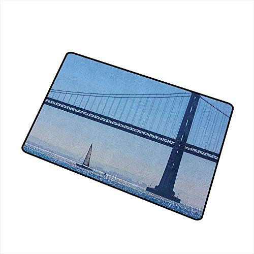 Sailboat Commercial Grade Entrance mat San Francisco Bay Bridge Sailboat from Pier 7 in California USA Landmark Photo Print for entrances garages patios W23.6 x L35.4 Inch Blue