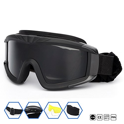 Outdoor Sports Military Airsoft Tactical Goggles with 3 Interchangable Lens Impact resistance Hunting Eyewear, UV400 Protection Shooting Glasses for Men Women Motorcycle Riding Wargame Paintball - Strap Paintball Goggle