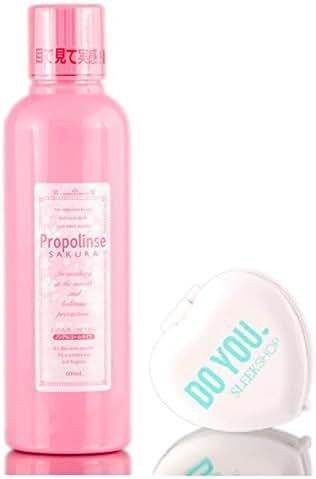 Propolinse SAKURA Mouthwash (Halitosis-Prevention for Smoker, Oral Hygiene) with Sleek Compact Mirror (20.28 oz - SAKURA Oral Wash)