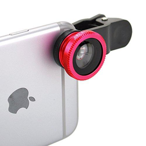 セルカレンズ 自撮りレンズ クリップレンズ for smartphone Clip lens iPhone スマートフォン SP1690 (レッド)