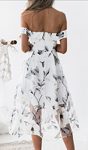 Women Shoulder Printed Floral Party Off The Sexy Beach Jaycargogo Dress White Summer dqC8dw