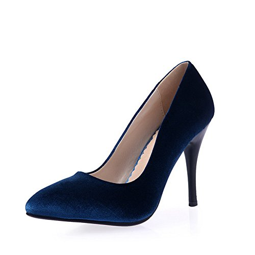 AmoonyFashion Womens Frosted Pointed Closed Toe Spikes Stilettos Pull On Solid Pumps-Shoes Blue