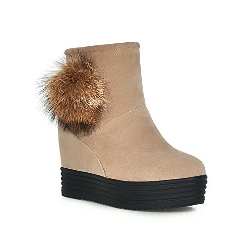 Shoes Beige Boots Heighten Ladies Inside Heel Wheeled Frosted AdeeSu Casual gU61Wqn